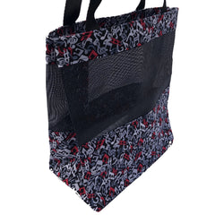 Music Tote Bag - Gray, Red, Black Notes