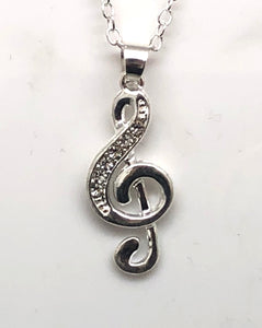 Treble Clef Crystal Necklace