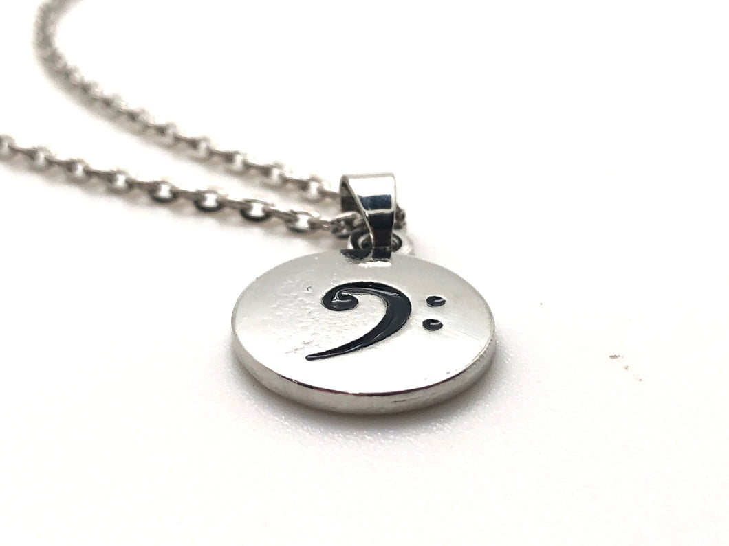 Bass Clef Circle Pendant Necklace