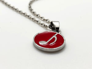 Eighth Note Red Circle Necklace