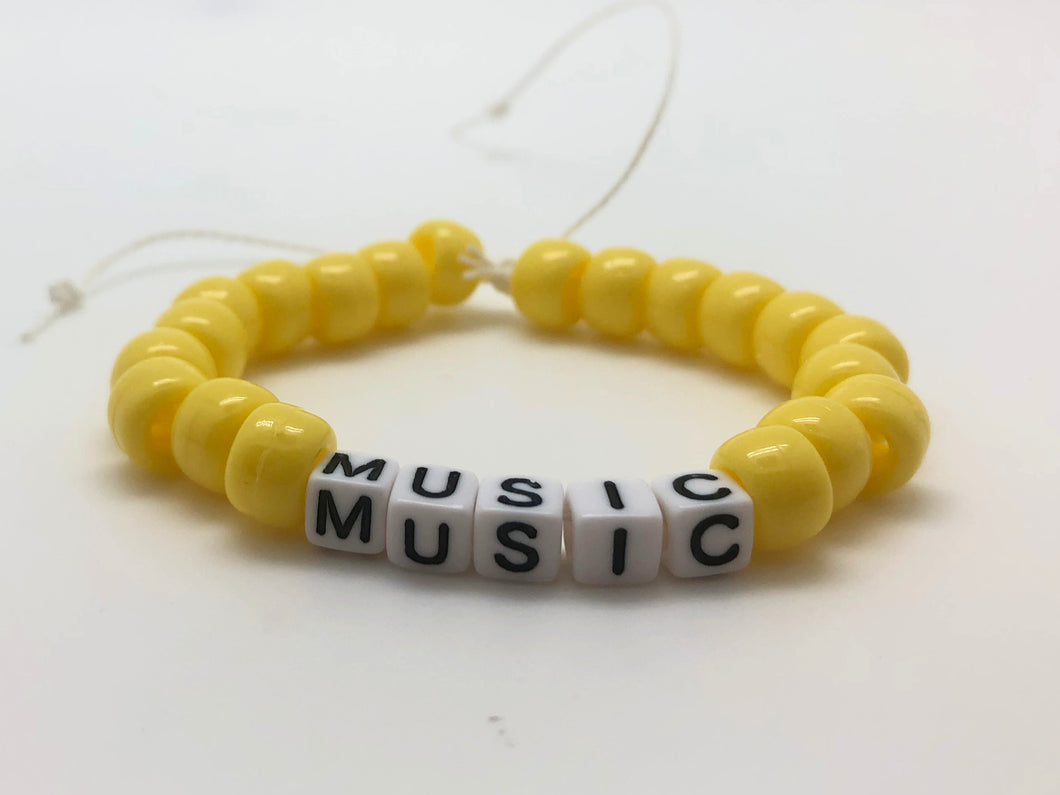 Pony Beads Music Bracelet - Yellow