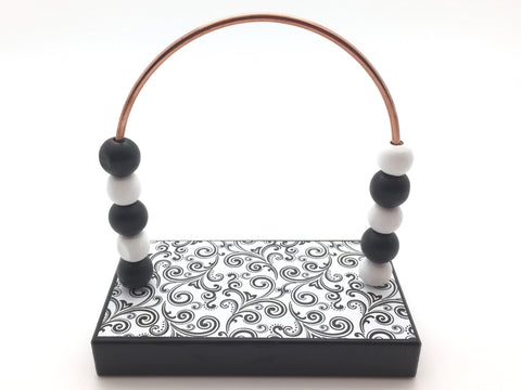 Swirl Black and White Bead Counter - Black Base