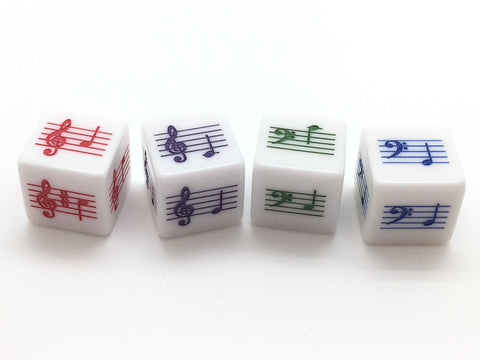 Pentatonic Scale Notes Dice - Treble and Bass Clef, set of 4