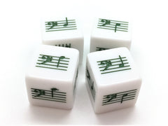 Pentatonic C Scale Notes Dice - Bass Clef - Set of 4 (Green)