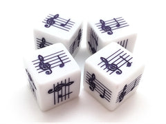 Pentatonic C Scale Notes Dice - Treble Clef - Set of 4 (Purple)