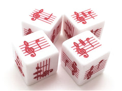 Pentatonic A Scale Notes Dice - Treble Clef - Set of 4 (Red)