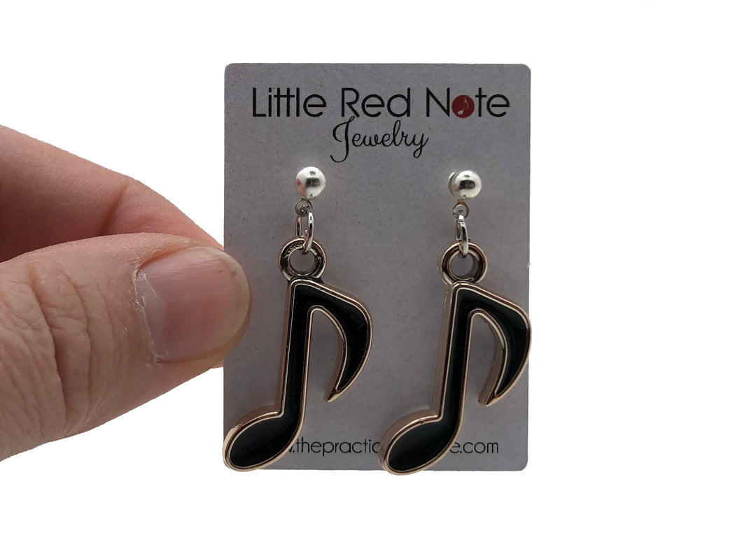 Eighth Note Dangle Earrings - Black