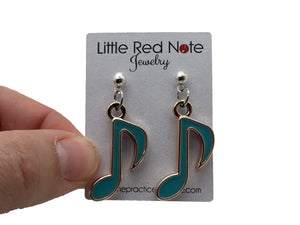 Dangle Post Eighth Note Earrings - Light Blue