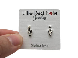 925 Sterling Silver Treble Clef Stud Earrings