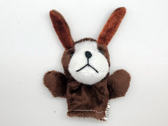 Dog Big Ears Finger Puppet - Dark Brown