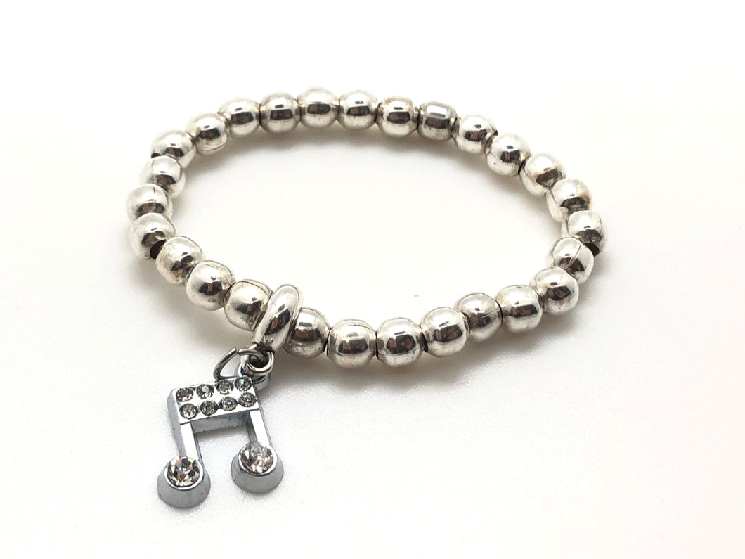 Silver Color Beaded Bracelet - Eighth Note Charm