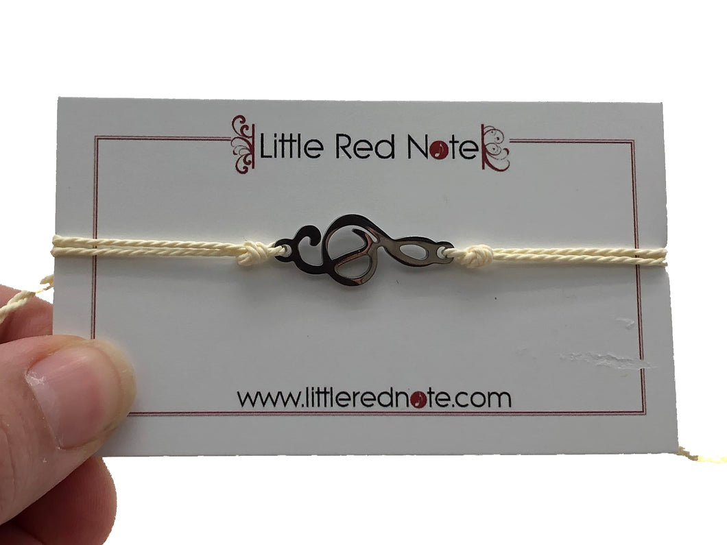 Treble Clef Wax String Adjustable Bracelet - Beige