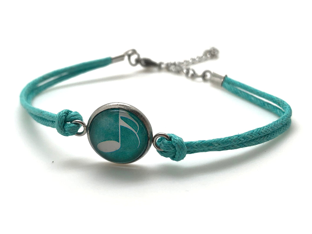 Stainless Steel Cotton Rope Cabochon Bracelet - Turquoise Sixteenth Note