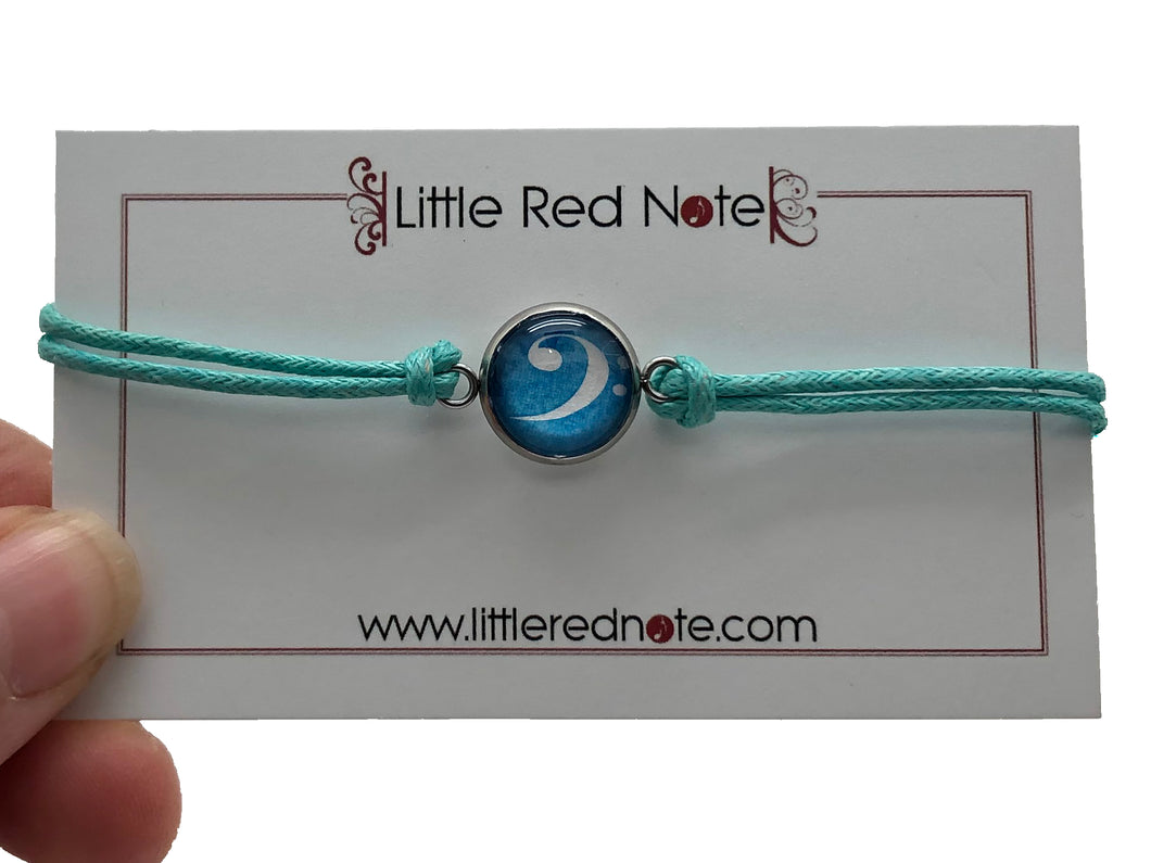 Stainless Steel Cotton Rope Cabochon Bracelet - Bass Clef