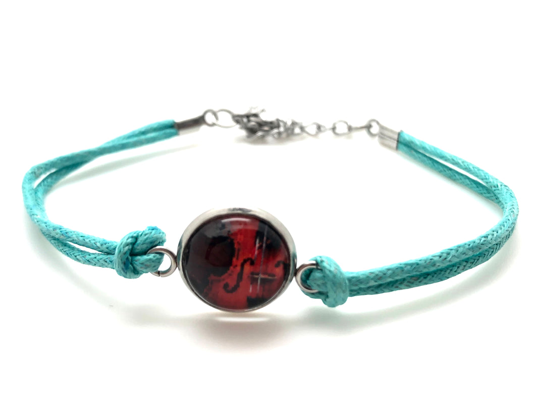 Stainless Steel Cotton Rope Cabochon Bracelet - Violin