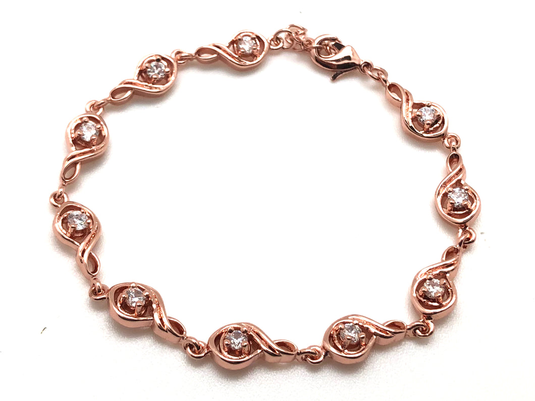 Treble Clef Link Adjustable Bracelet Cubic Zircon Rose Gold Plated