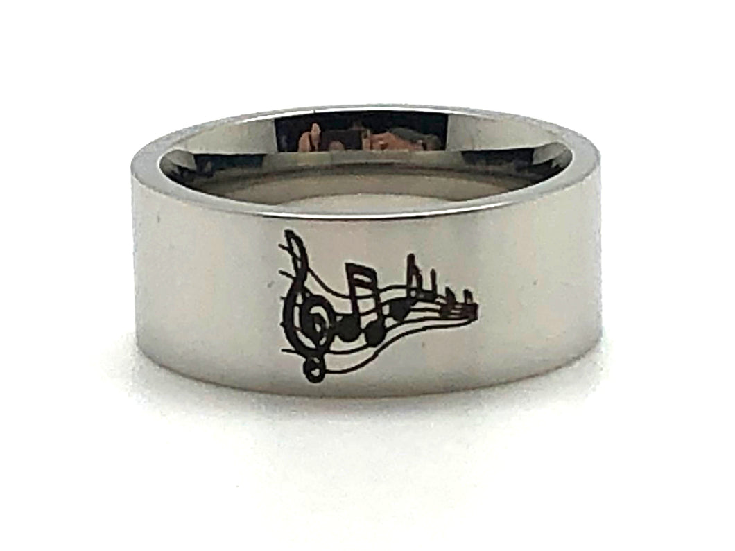 Stainless Steel Treble Clef Notes Ring