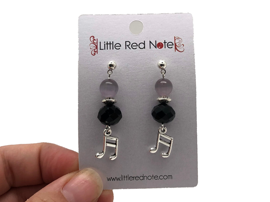 Handmade Sixteenth Note Black Lavender Bead Dangle Earrings