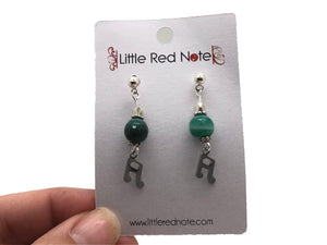 Sixteenth Note Green Bead Dangle Earrings