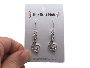 925 Sterling Silver Treble Clef Zircon Dangle Earrings