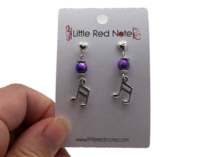 Handmade Sixteenth Note Purple Bead Dangle Earrings