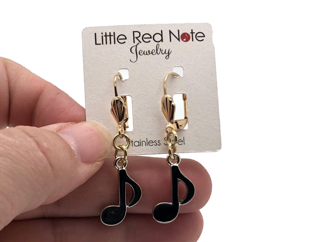 Lever-back Eighth Note Black Gold Earrings