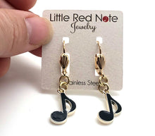 Load image into Gallery viewer, Lever-back Eighth Note Black Gold Earrings