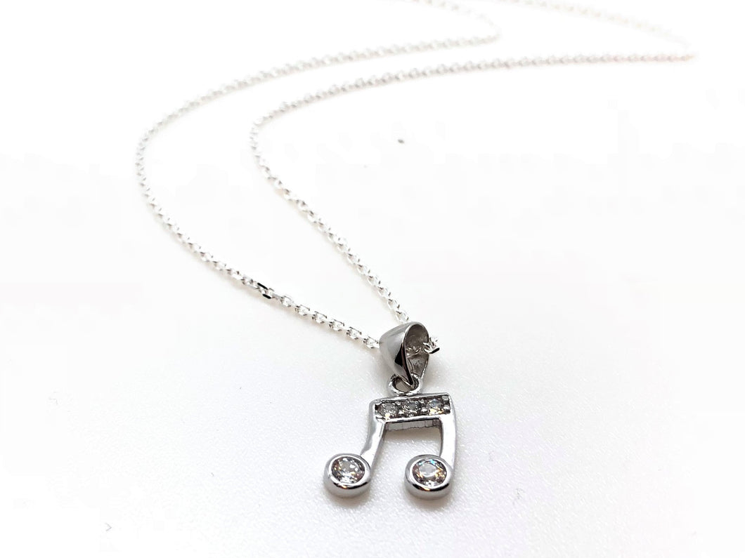 925 Sterling Silver Two-Eighth Notes CZ Necklace