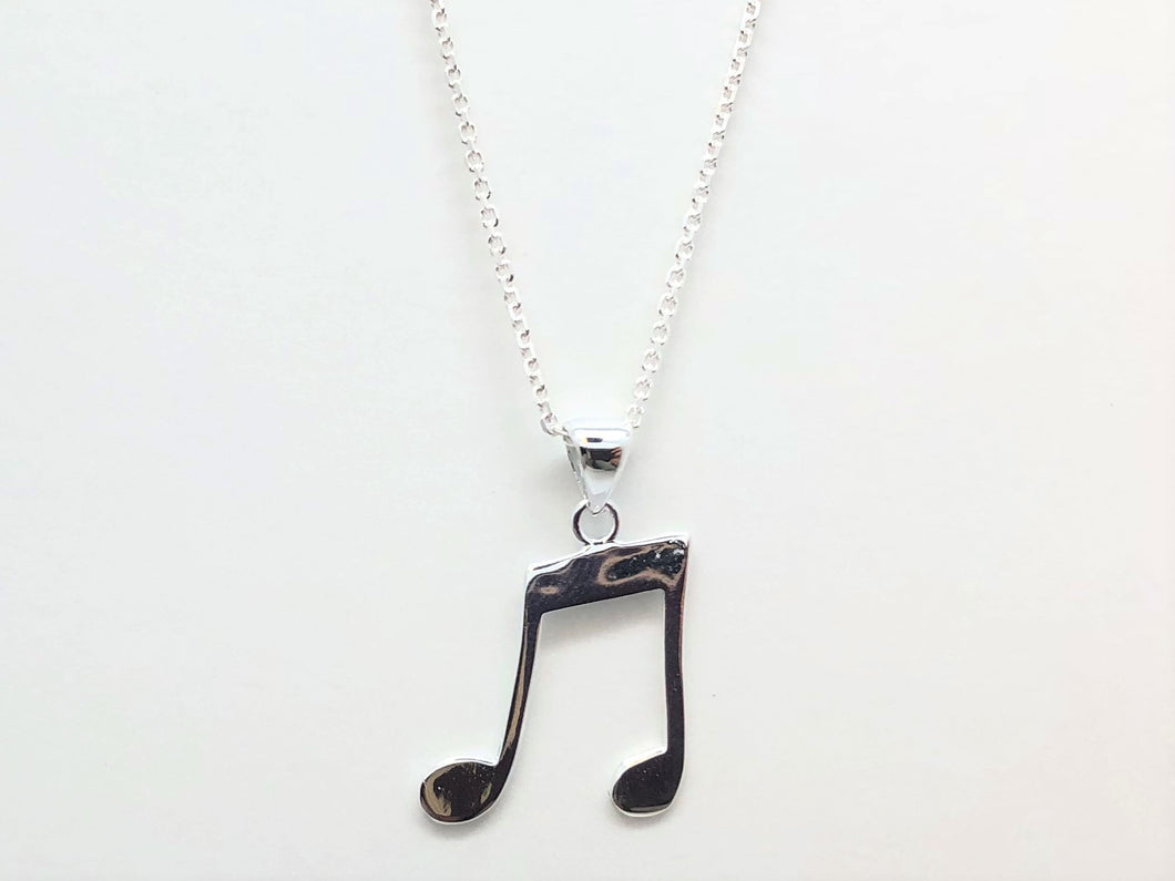 925 Sterling Silver Two-Eighth Notes Necklace