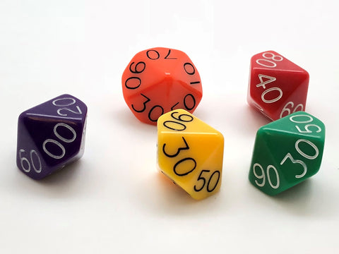 Standard 10-sided (D10) 00-90 Dice - Opaque