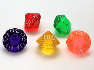 Standard 10-sided (D10) 00-90 Dice - Transparent