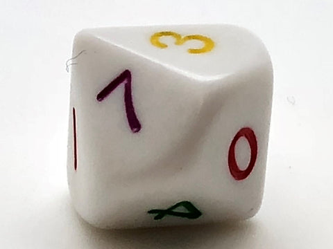 Standard 10-sided (D10) 0-9 Dice - Rainbow Numbers