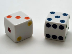 Six-Sided 25mm Dice - Rainbow Spots - d6