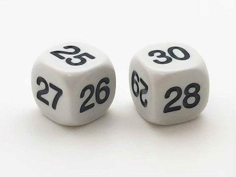 Six-Sided Standard Dice - Numbers 25-30 - d6