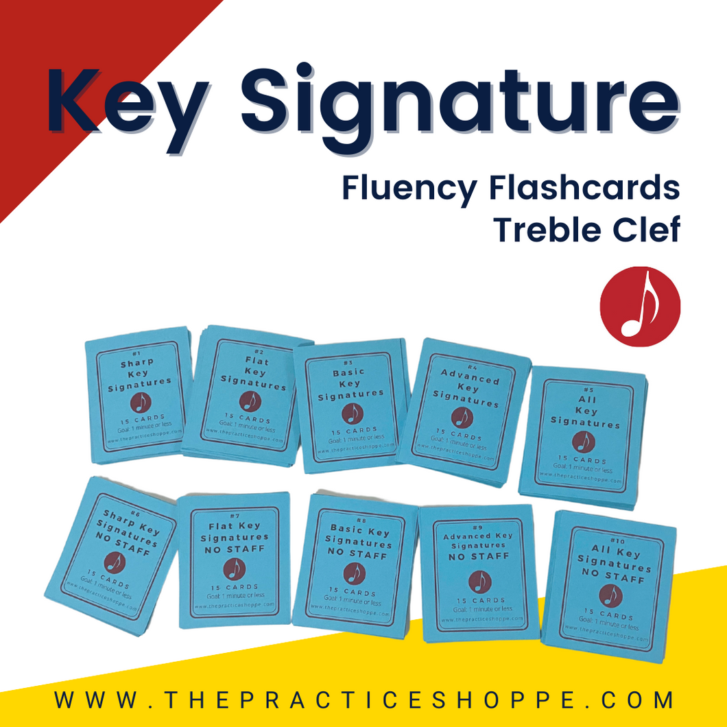 Key Signature Fluency Flashcards (Treble Clef) - 10 Sets of Flashcards (digital download)