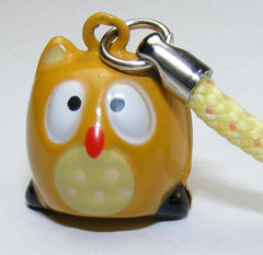 Owl Light Brown Bell Charm