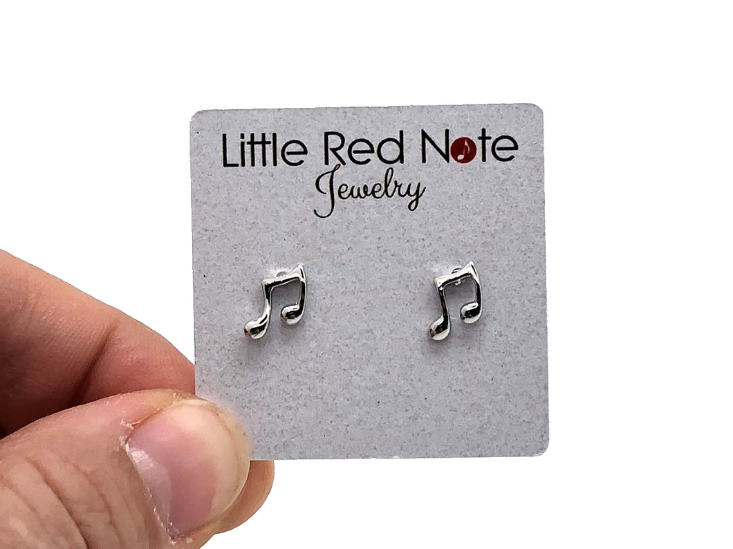 18K Platinum Plated Eighth Note Beamed Earrings