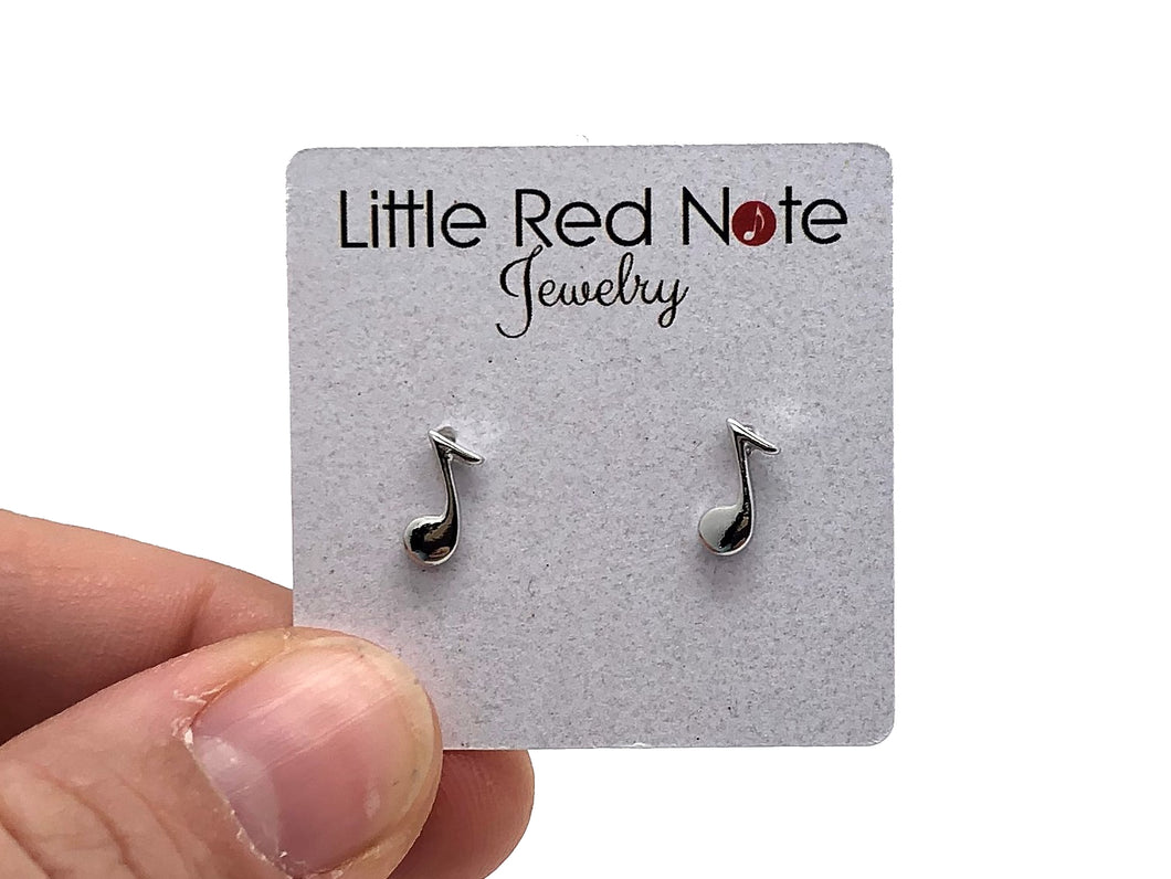 18K Platinum Plated Eighth Note Earrings
