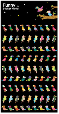 Funny World Parrot Shiny Foil Stickers
