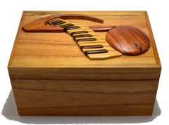 Intarsia Wood Box - Note and Keyboard