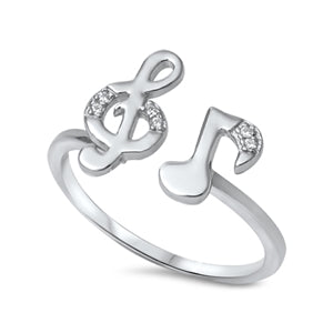 925 Sterling Silver CZ Treble and Music Note Ring