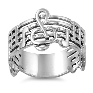 925 Sterling Silver Staff Notes Ring