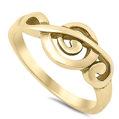 925 Sterling Silver Treble Clef Ring - Gold Finish