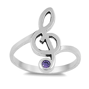 925 Sterling Treble Clef CZ Ring