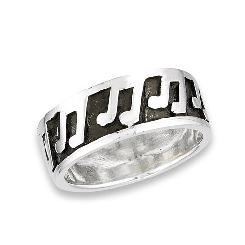 925 Sterling Silver Eighth Notes Ring