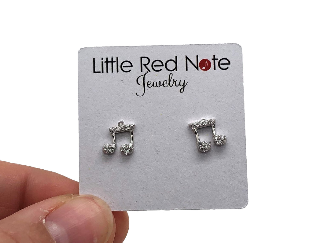 925 Sterling Silver Eighth Note Stud Earrings