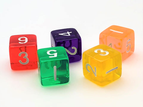 Six-Sided Standard Numeral Dice -Transparent - d6