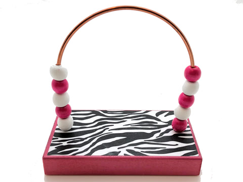 Zebra B&W with Pink Base Bead Counter