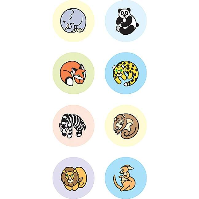 TCR Zoo Animals Mini Stickers