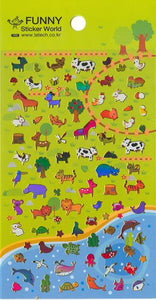 Funny World Animals Shiny Foil Stickers